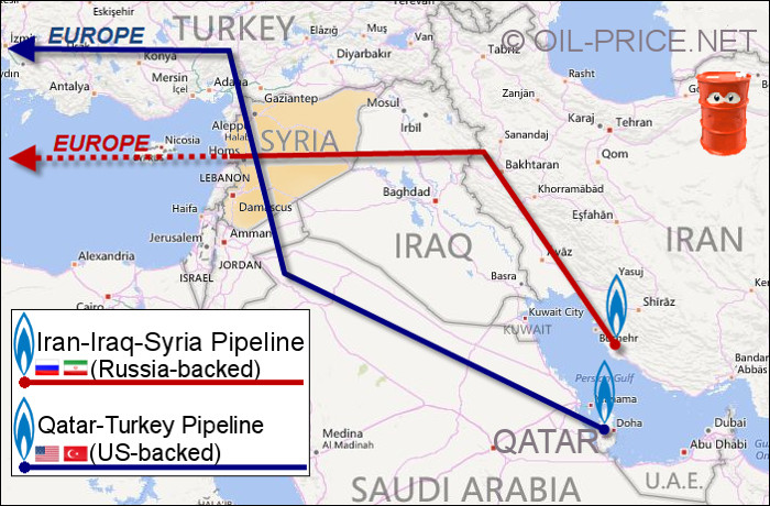 Map of Qatar-Turkey and Iran-Iraq-Syria pipelines running through Syria